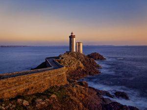 bretagne, brittany, lumière, light, mer, sea, océan, ocean, sunset, phare, lighthouse, Brest, Petit, Minou