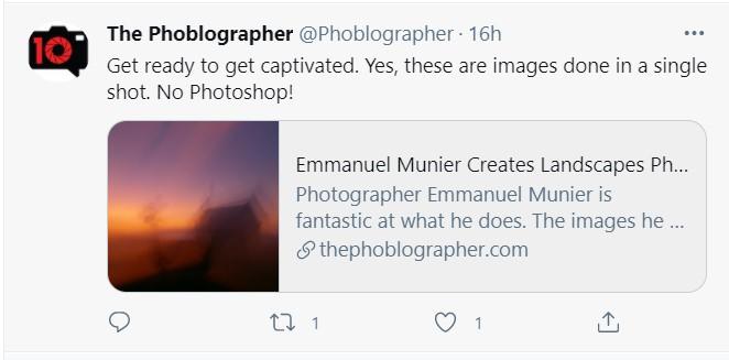 Témoignage The Phoblographer sur Twitter, ICM, artist, artiste
